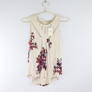 NWT Lucky Brand Sleeveless Floral Peasant Top S